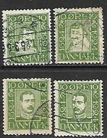Denmark   1924   Sc#164-7  4 Diff Used   2016 Scott Value $31 - Gebraucht
