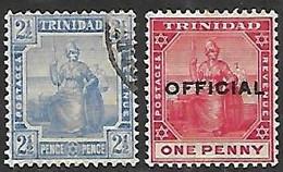 Trinidad   1909   Sc#107   2 1/2p  Used  & #O9 MH  2016 Scott Value $6.25 - Trinidad & Tobago (...-1961)