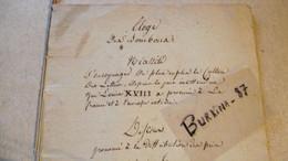 ELOGE Des Bourbons, 1814, Manuscrit; Discours Prononcé, Au Lycée De Limoges - Manuscripts