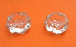 Années 1950Paire De Salerons De Forme Géométrisante En Verre Taillé (40x40x25)mm - Glass & Crystal