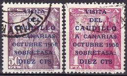 Spanien, 1950, 985/86,  Used Oo, VISITA / DEL / CAUDILLO / A CANARIAS - 1931-50 Usati