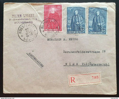Belgien 1930, Reko Brief MiF ROUSSELARE ROULERS Gelaufen WIEN - Covers & Documents