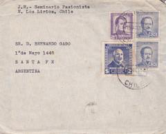 """""""SEMINARIO PASIONISTA"""" CHILE ENVELOPPE. CIRCULEE 1958. LOS LIRIOS A SANTA FE, ARGENTINE.- LILHU - Cile"""