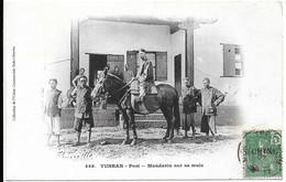 Superbe Cpa Du Yunnan En Chine De 1907. Mandarin Sur Sa Mule.Timbre Indochine Française Et Superbe Oblitération Au Verso - Cina