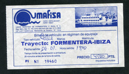 Ticket Ferry Liaison Formentera - Ibiza - Iles Des Baléares - Espagne - Compagnie Des Ferries Umafisa - Europe