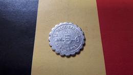 BELGIQUE SPONTIN NOTRE GRANDE SOURCE NATIONALE LE PASSE-PARTOUT 5 CENTIEMES 1931 ALUMINIUM FRAPPE MEDAILLE - Professionali / Di Società