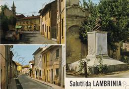 CARTOLINA  SALIUTI DA LAMBRINIA,PAVIA,LOMBARDIA,VIA MAZZINI E PIAZZA,VIA MAMELI,MONUMENTO,BELLA ITALIA,VIAGGIATA 1977 - Pavia