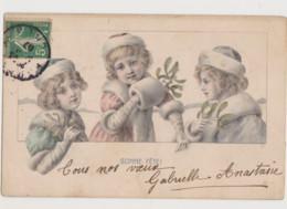 Carte Fantaisie Dessinée / 3 Fillettes Avec Branche De Gui - Groepen Kinderen En Familie