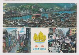 HONG KONG Multi View Vitage Photo Postcard RPPc 1970s Sent To Bulgaria (52289) - Cina (Hong Kong)