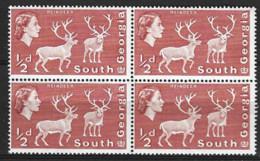 South Georgia  1963   SG   1   1/2d  Unmounted Mint  Block Of Four - South Georgia