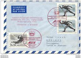 "211 - 91 - Enveloppe  Autrichienne ""Vol AUA Ouverture Des JO Innsbruck 1964"" - Inverno1964: Innsbruck"