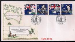 ANGLETERRE 1988 BICENTENAIRE DE L'AUSTRALIE EN COUVERTURE DU PREMIER JOUR DES ÉMISSIONS - Covers & Documents