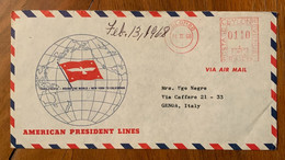 AMERICAN PRESIDENT LINES - TRAVEL AND SHIP WITH THE PRESIDENTS - FROM COLOMBO CEYLON TO GENOVA ITALY - 3c. 1961-... Covers