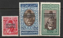 EGYPTE - N°344/5/6 ** (1953) Série Roi Farouk Surchargés Barres - Ungebraucht