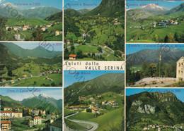 CARTOLINA  SALUTI DALLA VALLE SERINA,BERGAMO,LOMBARDIA,VALPIANA M.1030,LEPRENO M.850,ZAMBLA BELLA ITALIA,VIAGGIATA 1975 - Bergamo