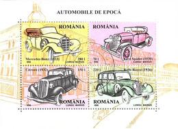 Romania 1996 Classic Cars MS Motoring Mercedes Ford Citreon Rolls Royce CTO - Automobili