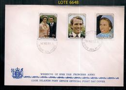 COOK ISLANDS 1973 MARIAGE DE LA PRINCESSE ANNE EN COUVERTURE DU PREMIER JOUR - 1971-1980 Dezimalausgaben