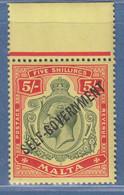 Malta 1922 Selbstverwaltung SELF-GOVERNMENT 5 Shilling Mi.-Nr. 78 Postfrisch ** - Malta