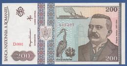 ROMANIA - P.100 – 200 LEI  12-1992 UNC Serie D.001 519297 - Romania