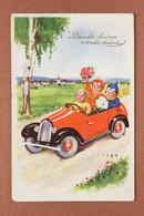 Old Postcard Postage Stamp USSR Riga 1940 By KALLERTA. Children Retro Racing Red Car Boy Girl - Groepen Kinderen En Familie