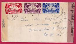 TAHITI ETS FRANCAIS OCEANIE PAPEETE FRANCE LIBRE 1944 DOUBLE CENSURE POUR MILWAUKEE OREGON USA  DAGUIN AU DOS - Covers & Documents