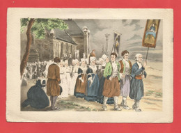 C.P.M « AQUARELLE 16 X 11 Cm » Un Grand Pardon Breton ,Jolie Procession Et Jolis Costumes     X2 Phts - Quadri, Vetrate E Statue