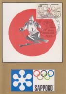 Carte  Maximum  1er  Jour   FRANCE   Jeux  Olympiques   SAPPORO    1972 - Inverno1972: Sapporo