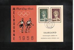 Germany Saarland 1956 Olympic Games Melbourne  Interesting Postcard FDC - Estate 1956: Melbourne