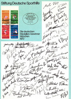 Germany / Deutschland 1972 Olympic Games Muenchen Interesting Signed Leaflet With Signatures Of German Medal Winners - Estate 1972: Monaco
