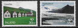 Iceland Scott # 799-800 MNH Farmhouses, Church, Volcano, 1995 - Unused Stamps