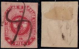 """4- KOLUMBIEN - 1859-1860 - 1 PESO - USED -  MUTE  """"X"""" PEN CANCEL - Colombia"""