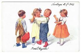 NIÑOS JUGANDO. CIRCULADA EN 1912. - Kindertekeningen