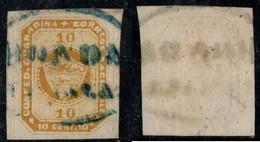 "8- KOLUMBIEN - 1860-1861 - 10 CTS - USED - ""HONDA FRANCA""  -BLUE - Colombia"