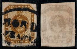 """9- KOLUMBIEN - 1860-1861 - 10 CTS - USED - YELLOW BROWN - """"HONDA FRANCA""""  - BLACK - Colombia"""