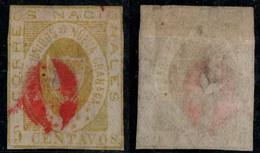 "10- KOLUMBIEN - 1861-1862 - 5 CTS - USED - "" 0 ""  - RED- PREPHILATELIC CANCEL - Colombia"