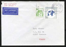 Germany (Berlin) Frankfurt 1989 Postal Used Air Mail Cover To Trabzon Turkey | Globe | Map Of The World - Briefe U. Dokumente