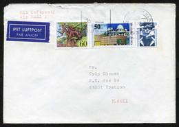 Germany (Berlin) Frankfurt 1988 Postal Used Air Mail Cover To Trabzon, Turkey | Airport, Aircraft | Astronomy | Tree - Briefe U. Dokumente