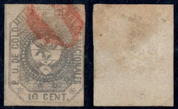 "16- KOLUMBIEN - 1862-1863 - 10 CTS - USED - "" 0 "" RED - PREPHILATELIC CANCEL-RRR - Colombia"