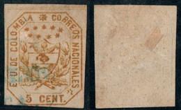"17- KOLUMBIEN - 1863-1864 - 5 CTS - USED - "" MEDELLIN FRANCA "" - BLUE - Colombia"