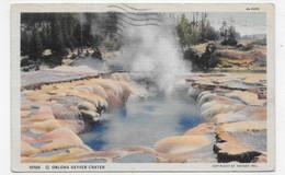 (RECTO / VERSO) YELLOWSTONE PARK EN 1939 - OBLONG GEYSER CRATER - BEAU TIMBRE - FORMAT CPA - Yellowstone