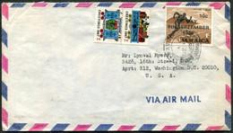 Jamaica 1969 Air Mail Cover ALLMAN TOWN Pmk Fr. 10c C-DAY Ovpt Stadium +anti-TB Christmas Label TRAIN Railway Teddy Bear - Jamaica (1962-...)