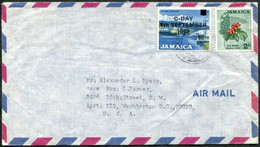 Jamaica 1969 Air Mail Cover ALLMAN TOWN Pmk Fr. 8c C-DAY Ovpt Gypsum Industry + 2c Blue Mahoe Flower National Tree > USA - Jamaica (1962-...)