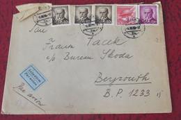 Tchcoslovaquie Lettre Par Avion Du 05 11 1944 De Praha Pour Beyrouth - Covers & Documents