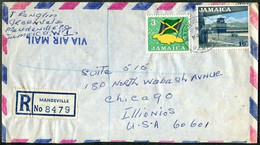 Jamaica 1969 Air Mail Registered Cover MANDEVILLE Pmk Franked 3d FLAG & MAP Flagge Landkarte + 1/6d Airport R-Brief >USA - Jamaica (1962-...)
