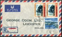 Jamaica 1971 Air Mail Registered Cover LUCEA Oval Pmk Franked 15c RAILWAY Train Loco + 8c Gypsum Industry R-Brief >UK GB - Jamaica (1962-...)