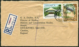 Jamaica 1973 Registered Cover LIONEL TOWN Pmk Franked 15c IRON BRIDGE + 20c College Of Arts Pont Brücke R-Brief > UK GB - Jamaica (1962-...)