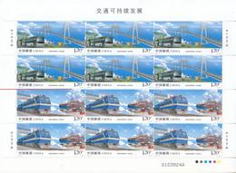 China 2021-24 Sustainable Development Of Transport In China Stamps 4v Full Sheet Cutting - Trains