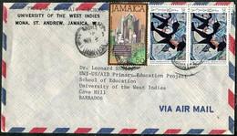 Jamaica 1983 Air Mail Cover MONA Pmk Fr. 5c Old Waterwheel Blind Musician Banjo + 20c Karl Parboosingh Painting>Barbados - Jamaica (1962-...)
