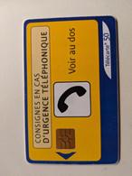 TELECARTE FRANCE TELECOM  50  CONSIGNES EN CAS D'URGENCE TELEPHONIQUE - Operadores De Telecom