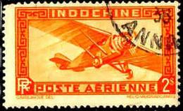 Indochine Avion Obl Yv:12 Mi:195 Monoteur (TB Cachet Rond) Dents Courtes - Aéreo